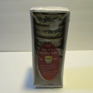set of 6 muffin pots blueberry design